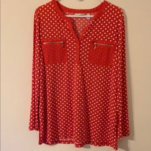 Pink Blouse with White Polka Dots